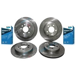 Front & Rear Slotted Drilled Disc Rotors Bendix GCT Brake Pads Ford BA BF FG Falcon