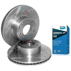 2 Front Slotted+Dimpled Disc Rotors + Bendix Brake Pads Holden Commodore VT VX VU VY VZ V6 V8 97-06
