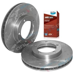 2 Front Drilled + Slotted Disc Rotors + Bendix 4wd Brake Pads suits Toyota 76 78 79 Series Landcruiser 1999 to 2013