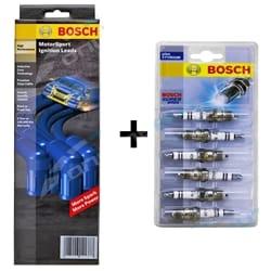 Bosch Ignition Lead + Spark Plug Set Ford AU Falcon Fairmont LTD 4.0L Series 1 1998 1999 until 2/2000 Series 1 | B6201HP+S28-6