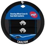 Official Licensed AFL Carlton Blues Steering Wheel Cover & Seat Belt Buddies | ZPN-13430